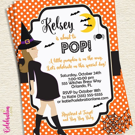 Print Halloween baby shower invite