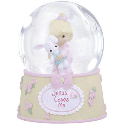 Musical Jesus loves me girl snow globe