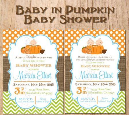 Digital LIttle Pumpkin baby shower invite