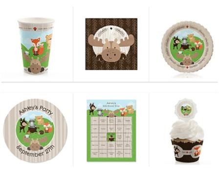 Woodland creatures baby shower supplies