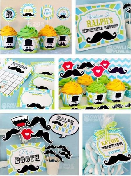 Printable Mustache Little Man party kit