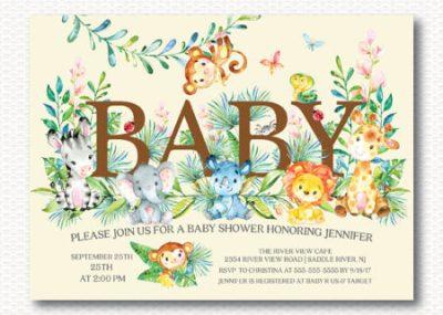 Digital Lion Safari themed baby shower invite