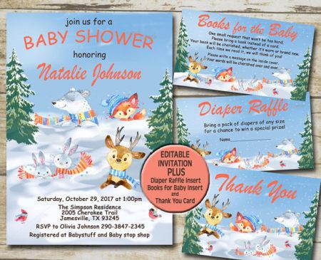 Printable Winter woodland animals baby shower kit