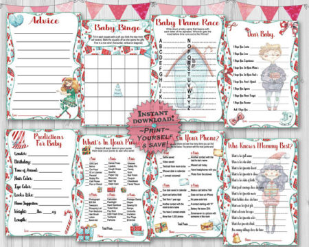 Printable Christmas baby shower game set