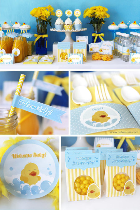 Printable Baby Shower Rubber Duck supplies