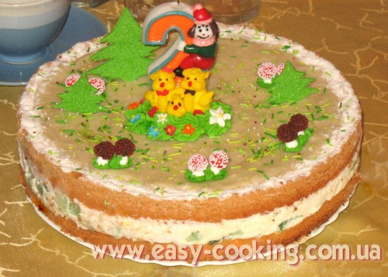 Торт бисквитный с начинкой из желе
