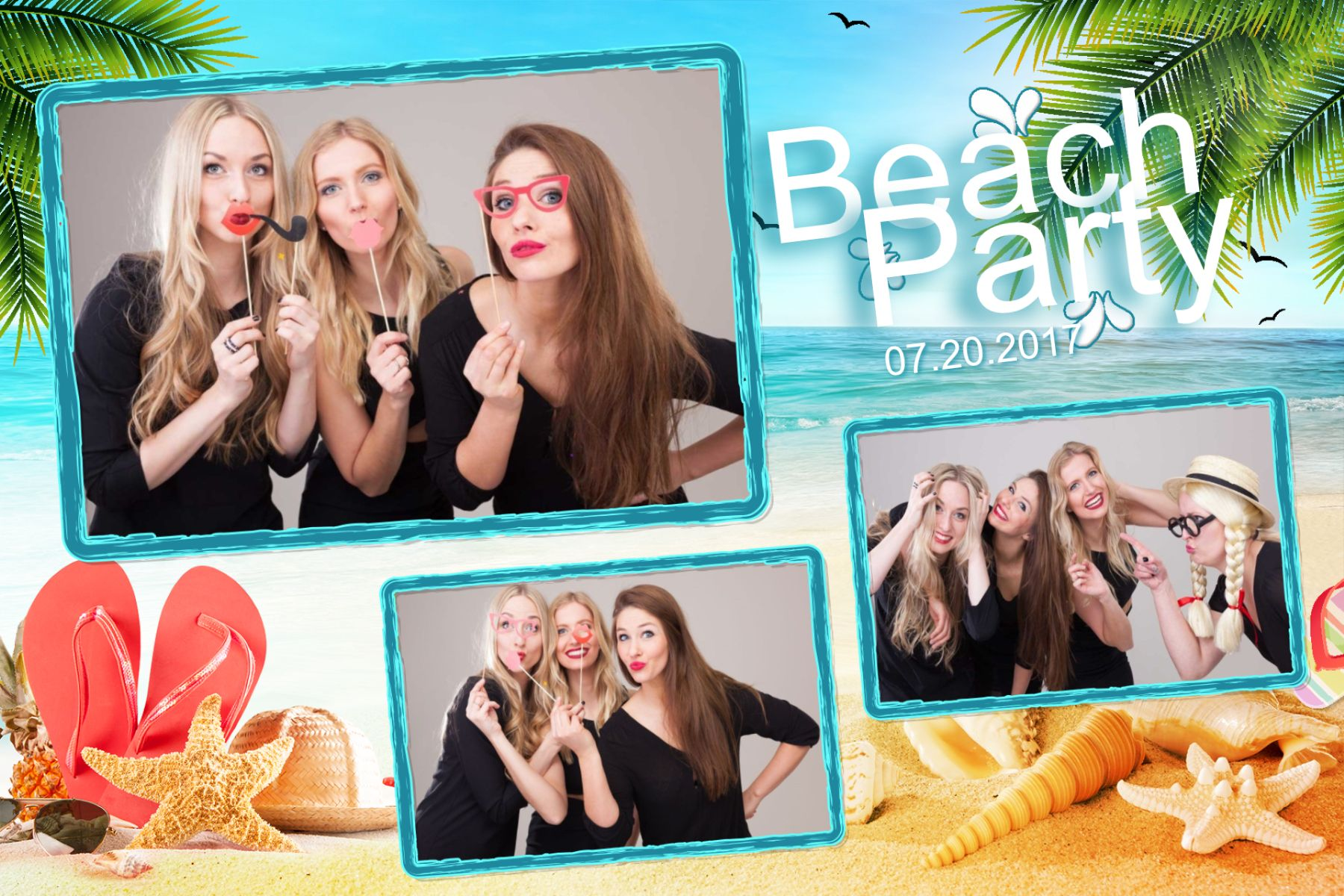 Beach Party Fotobox-Layout