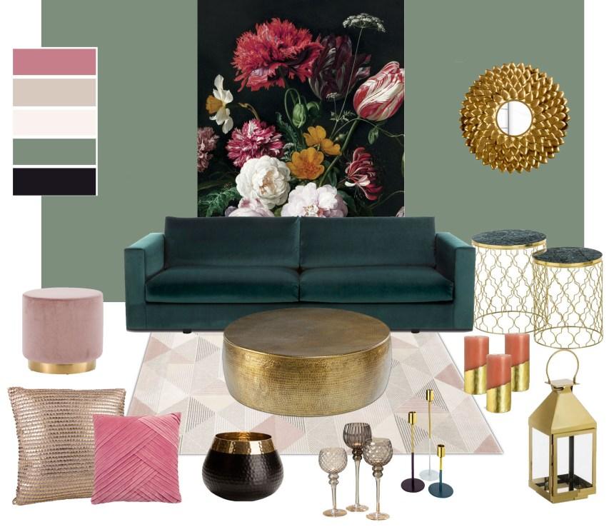 Moodboard Wohnzimmer rosa gold