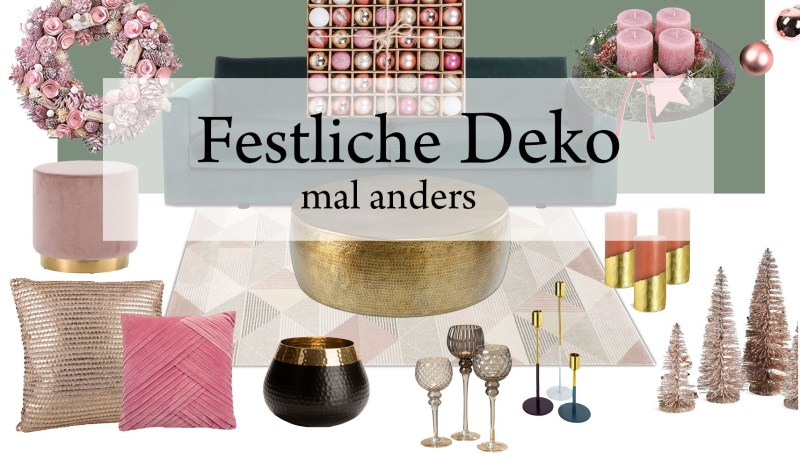 Weihnachtsdeko, Accessoires rosa, gold, grün