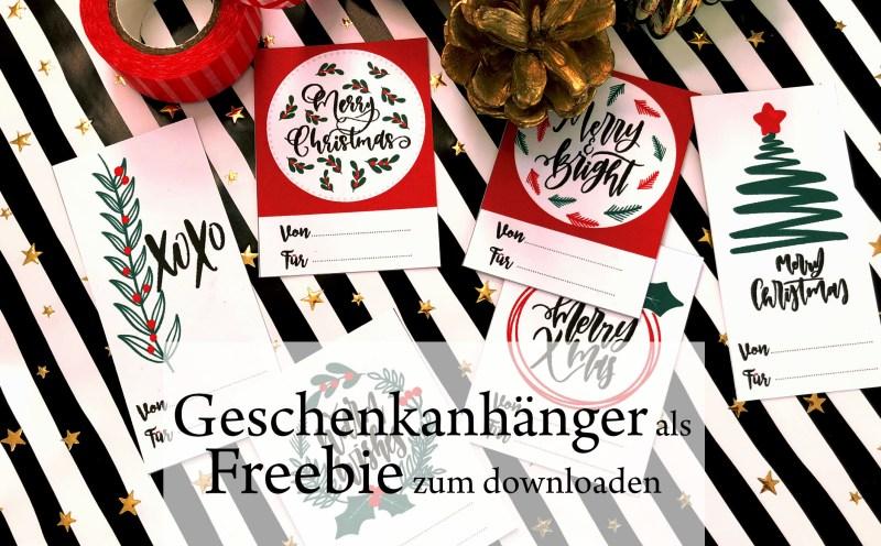 Bild mit Geschenkanhängern für Weihnachten und Weihnactsdeko, Anhänger zum Ausdrucken für ein entspanntes Weihnachten