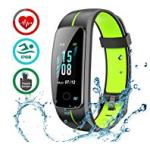 LATEC Fitness Armband mit Pulsmesser, IP68 Wasserdicht Fitness Tracker Farbbildschirm Aktivitätstracker Pulsuhren Schrittzähler Uhr Smartwatch 14 Trainingsmodi Musiksteuerung Stoppuhr SMS Nachrichten by LATEC