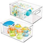 mDesign 2er-Set Kinderzimmer Organizer - Sortierbox mit praktischen Griffen, ohne Deckel - Kunststoffbehälter mit großem Fach für Spielzeug, Windeln, Stofftiere & Co. - durchsichtig