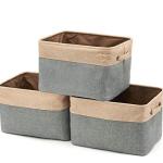 EZOWare Faltbare Aufbewahrungsbox aus Leinen Aufbewahrungskorb mit Griffen – 3er Set (Grau/Beige)