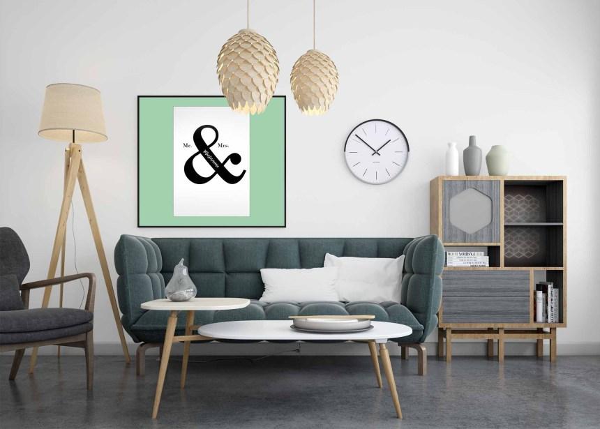 Modern es Wohnzimmer in grün mit Bild an der Wand