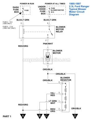 Part 1 Blower Motor Circuit Diagram (19951997 23L Ford