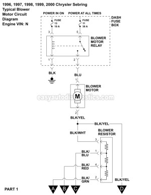 Blower Motor Wiring Diagram (19962000 25L V6 Sebring And