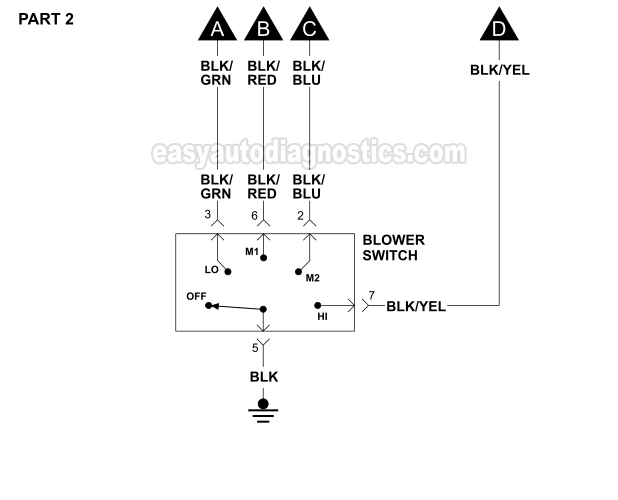 Blower Motor Wiring Diagram (1996-2000 2.5L V6 Sebring And