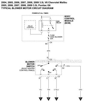 Blower Motor Circuit Diagram (20042009 35L Chevy Malibu And Pontiac G6)