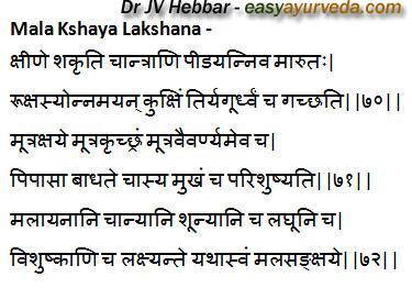 Mala Kshaya lakshana