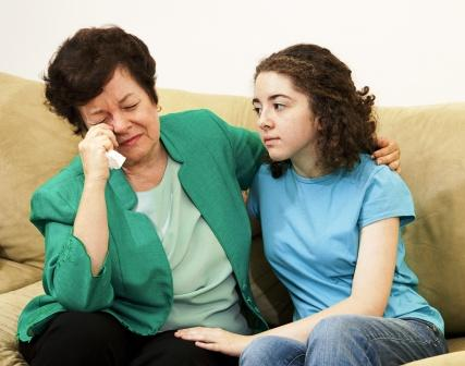 daughter consoling mother