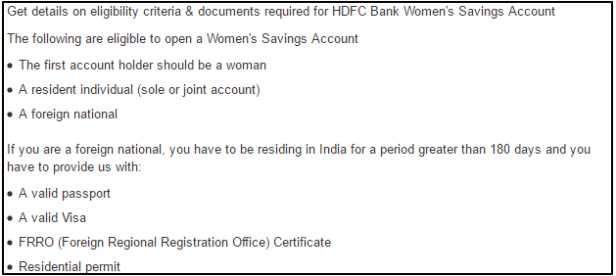 HDFC Bank Women s Savings Account HDFC eligibillity