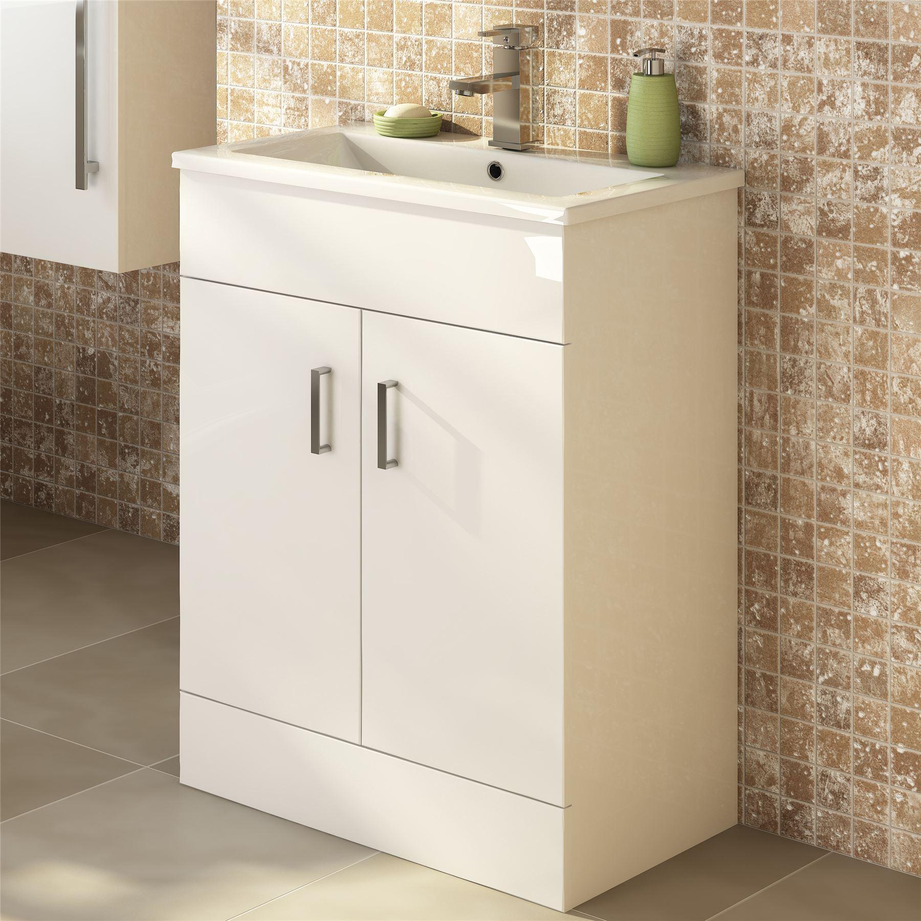 450mm Modern White Bathroom Floor Standing Vanity Unit