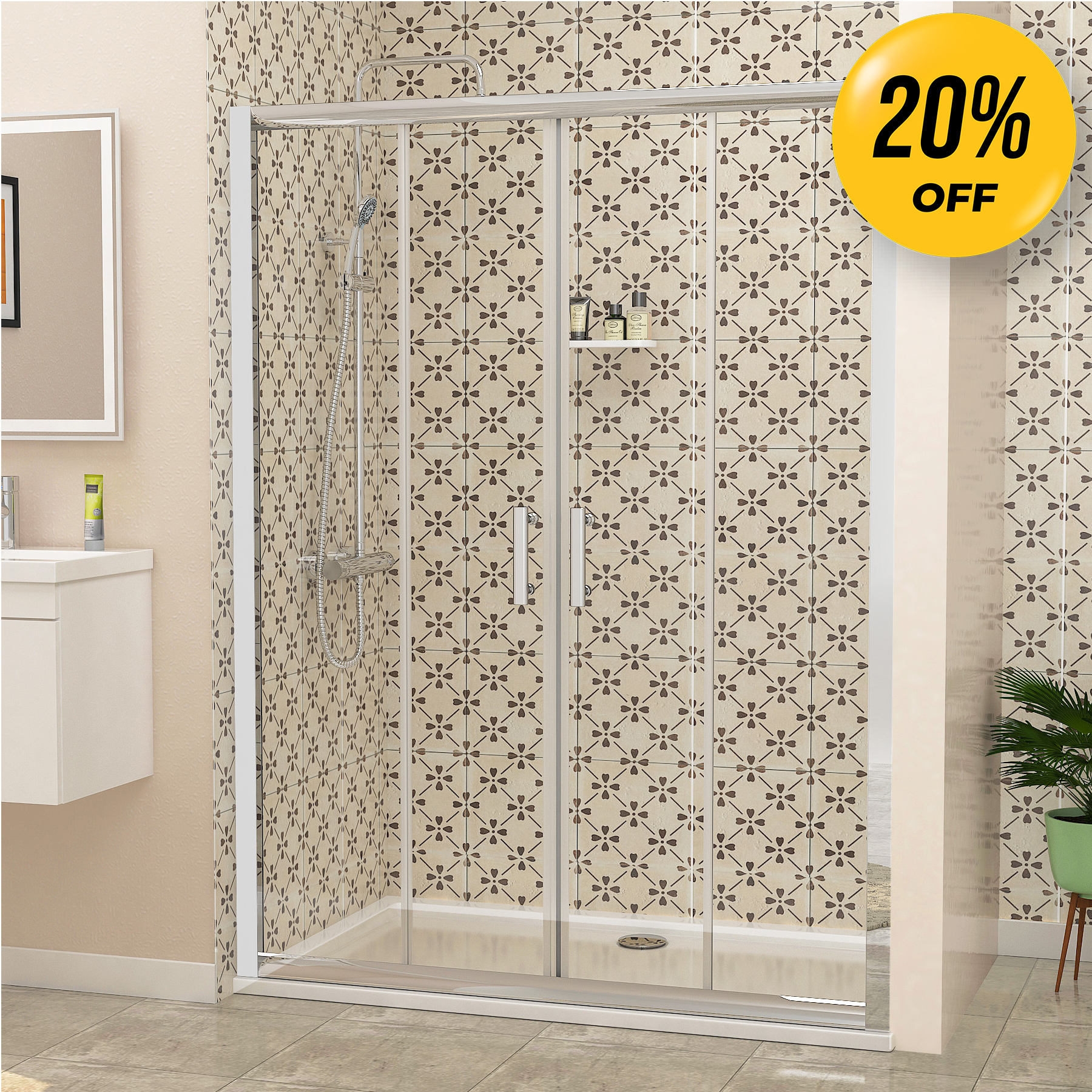 Details About 1500 X 700mm Double Sliding Shower Enclosure Door Cubicle 6mm Glass Stone Tray
