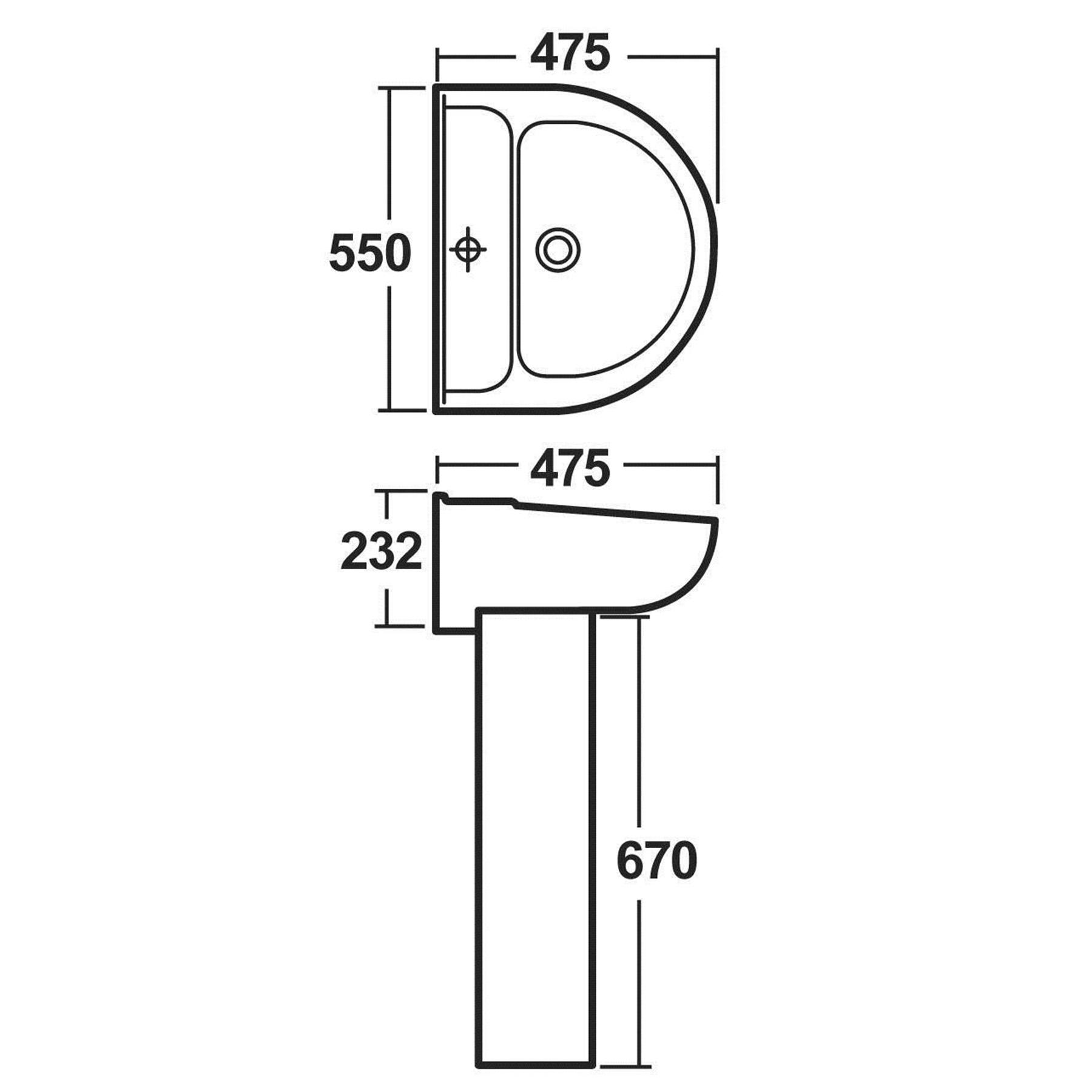 Modern Bathroom Close Coupled Toilet Amp 550mm Full Pedestal