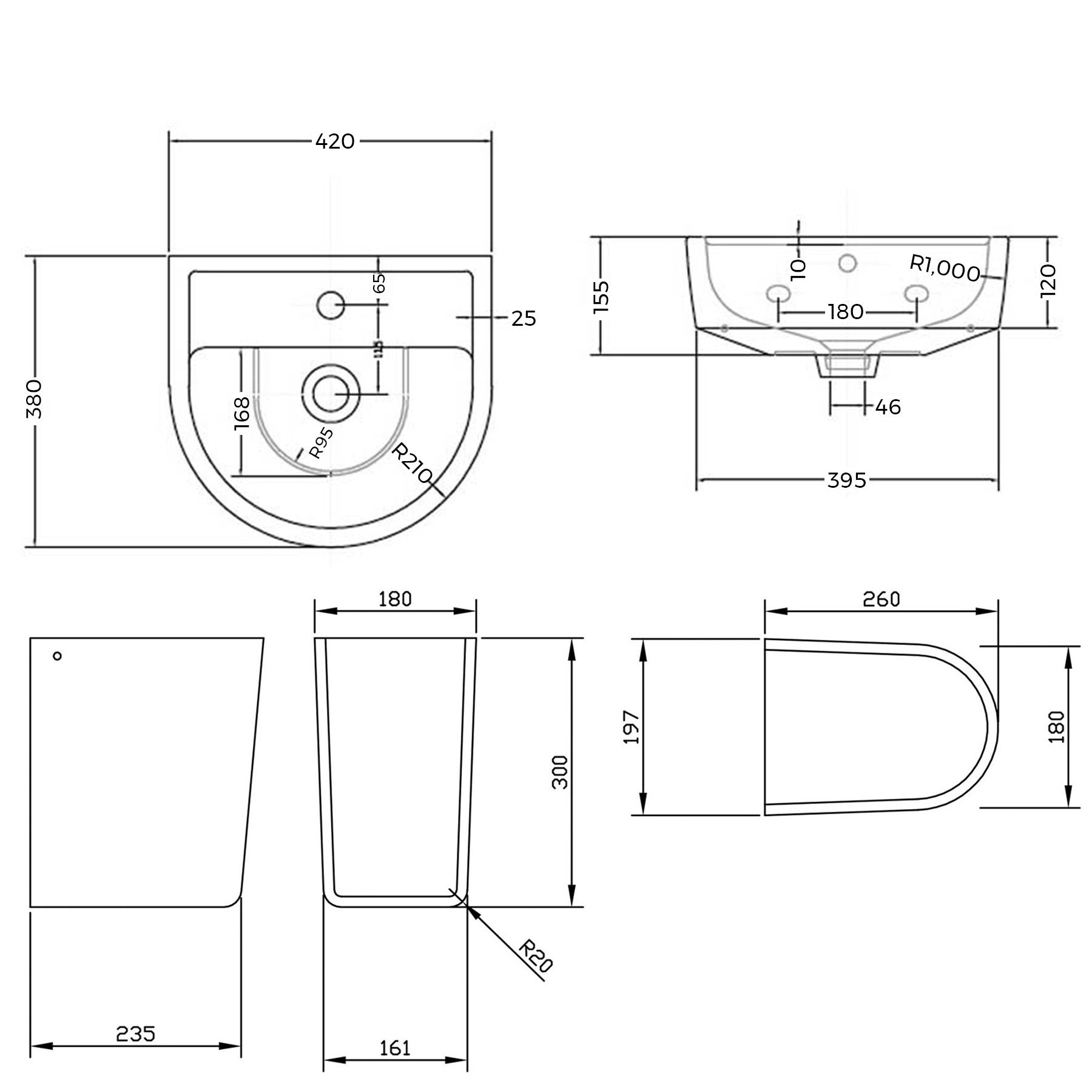 Close Coupled Toilet Amp 420mm Basin Sink Semi Pedestal Set