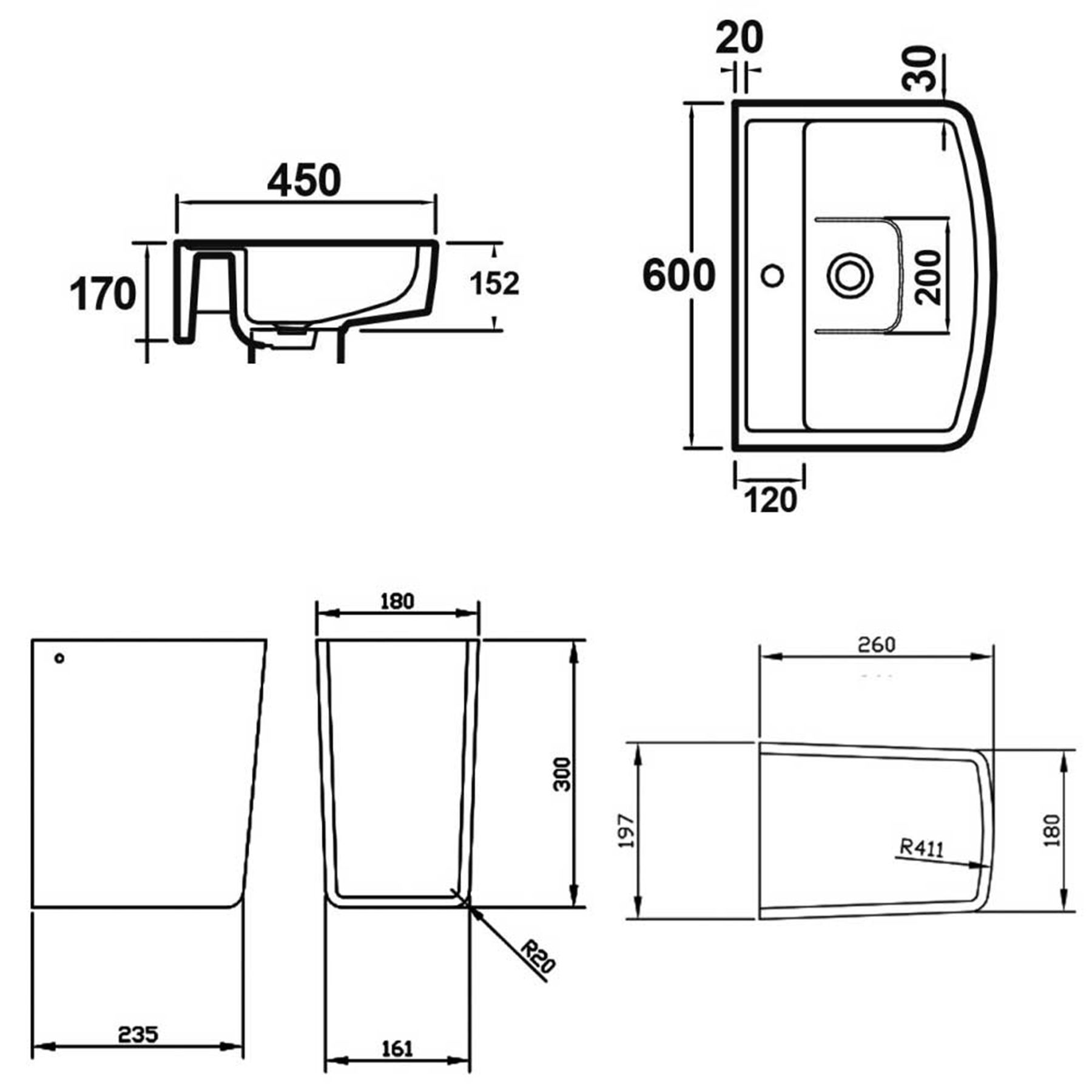 Modern Close Coupled Toilet Amp 600mm Semi Pedestal Basin
