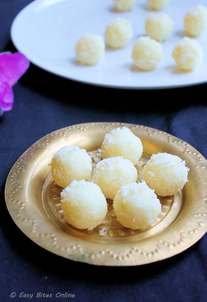 3 min coconut laddu