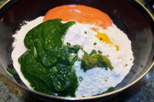 add tomato paste, kale paste, curds, turmeric powder, chili paste, ginger, salt and mix