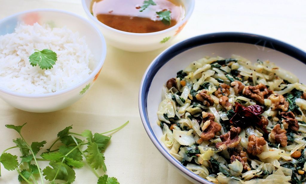 cabbage, spinach stirfry with walnuts