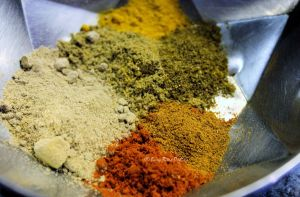 take all the spice powders in a small bowl