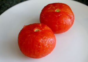 blanched, peeled tomatoes.
