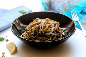 Whole Wheat Spaghetti With Avocado Basil Pesto