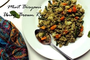 Mint Biryani Using Brown Rice