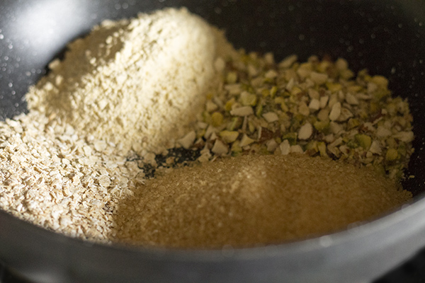 ingredients-for-dark-chickpea-flour-burfi-recipe