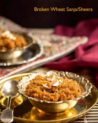 Broken Wheat Sweet Sanja/Sheera With Jaggery Recipe