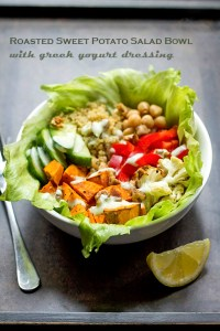 Roasted Sweet Potato Salad Bowl With Greek Yogurt Dressing