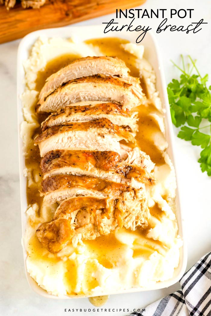 Instant Pot Turkey Breast is just the easy Thanksgiving recipe that you've been searching for. The recipe will cost $18.69 to make and will serve 6 people. via @easybudgetrecipes