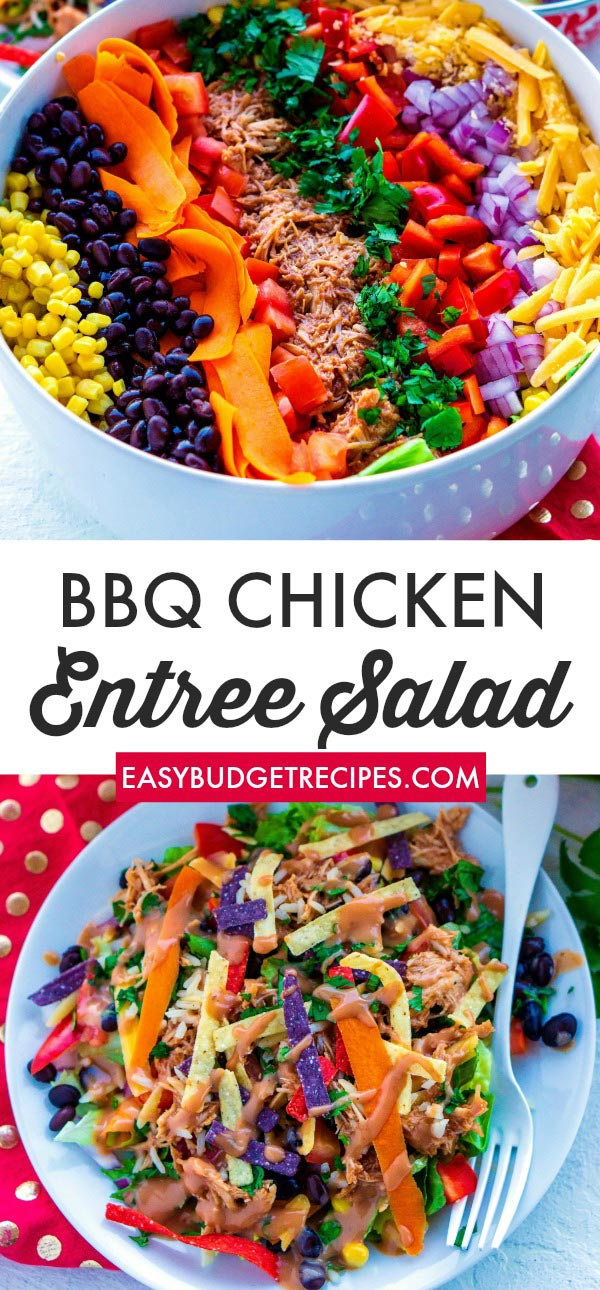 This BBQ Chicken Salad recipe is a delicious, easy recipe that feeds a crowd and satisfies everyone in the family.This recipe costs just $1.99 per serving.  via @easybudgetrecipes
