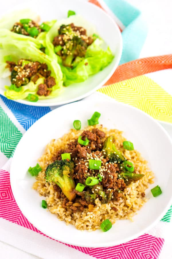 The finished dish served over rice and in lettuce cups for lettuce wraps.