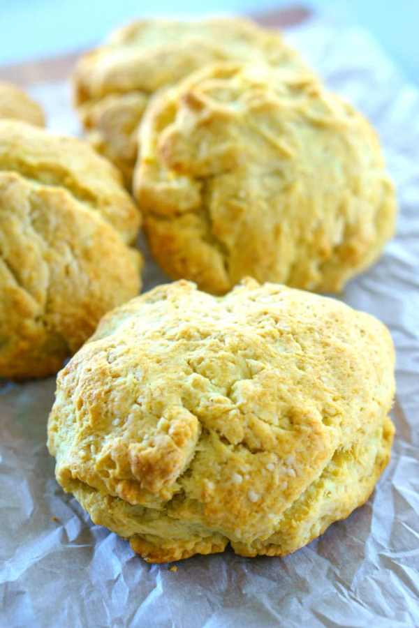 A close up picture of the buttermilk drop biscuits.