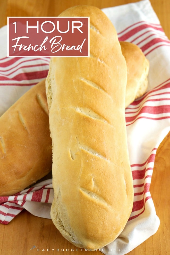 This French Bread recipe takes just one hour from start to finish. It makes 2 large loaves that serve 8 people each and will cost just 0.12¢ per serving! via @easybudgetrecipes