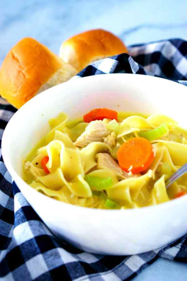 Side shot of slightly creamy chicken noodle soup in a serving bowl.