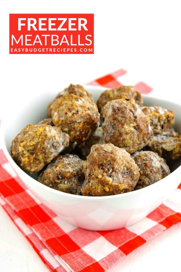 Frozen meatballs in a white bowl with text overlay for Pinterest.