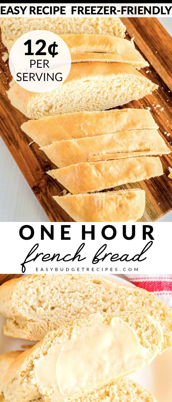 This French Bread recipe takes just one hour from start to finish. It makes 2 large loaves for just $1.90. Each loaf serves 8 people each and will cost just 12¢ per serving!  via @easybudgetrecipes