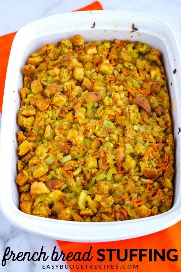 Stuffing in a baking dish with text overlay for Pinterest.
