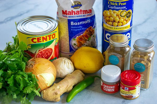All of the ingredients needed to make Easy Chana Masala.